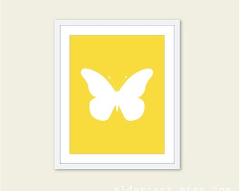 Butterfly Art Print - Butterfly Wall Art - Modern Butterfly Art - Baby Nursery Wall Art - Yellow and White Butterfly Art - Custom Color