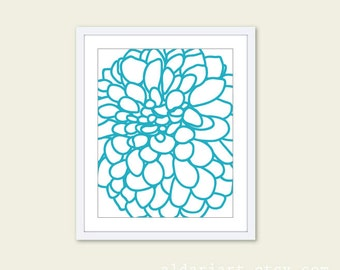 Modern Dahlia Wall Art - Dahlia Flower No. 1 Art Print - Turquoise and White - Contemporary Home Decor - Spring Summer - Aldari Art
