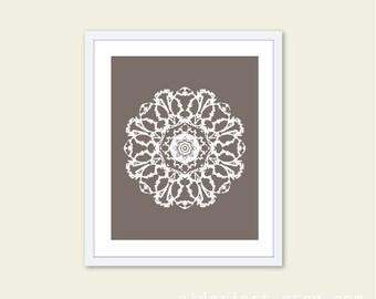 Mandala Art Print Wall Art Modern Home Decor Meditation Spiritual Circle - Taupe Brown and White
