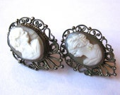 Vintage 800 Silver Filigree Italian Hand Carved Shell Cameo Screw Back Earrings