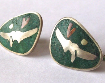 Vintage 40s 50s Sterling Silver & Turquoise Inlay Mexican Screw Back Earrings