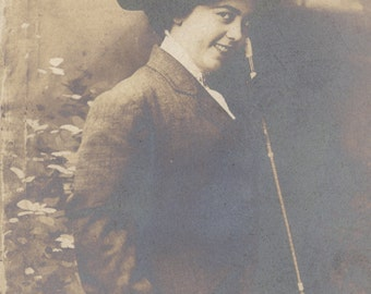 Spectacular Gal in Man's Clothing, circa 1905. Advertizing Postcard, Detroit, USA