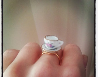 Cute tea cup ring - miniature porcelain tea cup ring - gold adjustable ring