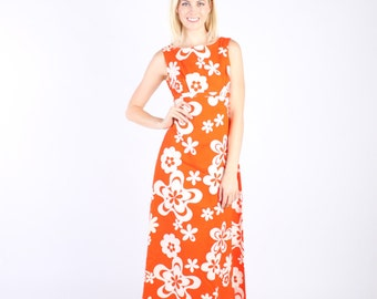 Hawaiian Dress Gown 1970s 70s Orange Maxi M Medium S Small Floral Empire Waist Sleeveless