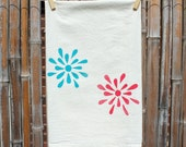Flour Sack Tea Towel screenprinted with Teal and Red Flowers