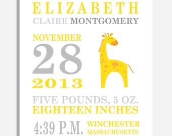 Custom Birth Announcement Print - Yellow Giraffe  - 8 x 10