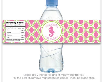 Seahorse Custom Water Bottle Labels - 100% Waterproof