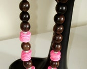 RESERVED:  Ashira Large Tiger Ebony Wood, Rhinestones and Hot Pink Howlite Heishi Beads - Perfect for the Neon Clothes for Spring