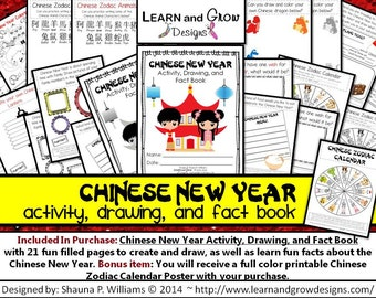 Chinese New Year Activity, Drawing, and Fact Book for Kids