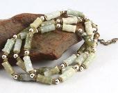 Jade Necklace, Jadeite Necklace, Unisex Necklace, Gemstone Beaded Necklace, Green Gemstone Necklace, Choker Necklace, Earthy Necklace, Yoga