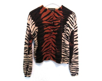 90's Animal Cropped  Knit Cardigan  size - S/M