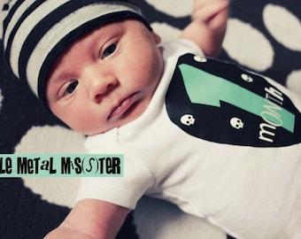 Punk Rock Baby Monthly Onesie Guitar Pick PRINTABLE Alternative / heavy metal babies. DIY Iron on / Sticker. Photo prop. YOU Print