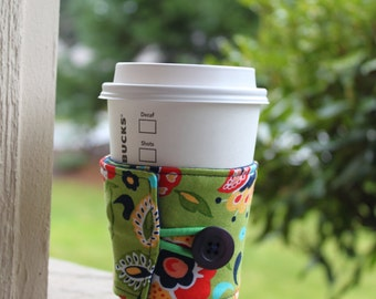 Reusable Coffee Sleeve / Coffee Cozy - Bright Green with Whimsical Flowers - Green, Orange, Yellow and Navy Cup Wrap - Stocking Stuffer