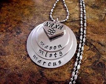 Super Sale Now Nana Necklace, Nana Gift, Personalized Jewelry, Hand Stamped Jewelry, Nana Jewelry, Jewelry for Nana, 3 discs