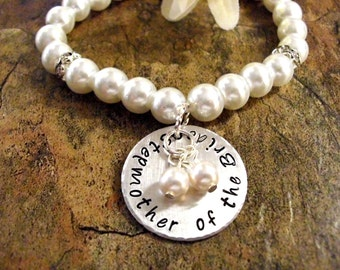 Stepmother of the Bride Pearl Bracelet, Stepmother of the Bride Jewelry, Bridal Bracelet, White Pearl Bracelet, Hand Stamped Bracelet