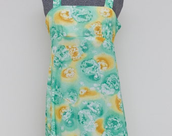 Mint and Gold Roses 1970's Sundress