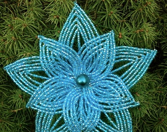 Layered Electric Blue French Beaded Flower Christmas Ornament
