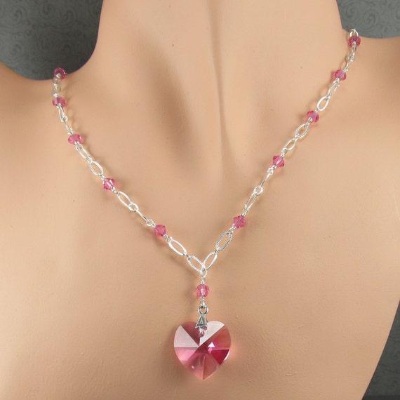 Rose Crystal Heart With Wire Wrapped Crystal Chain Necklace