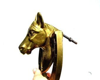 Vintage Brass Door Knocker, Horse and Horseshoe Door Knocker, Brass Horse and Horseshoe Door Knocker