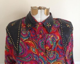 Vintage Paisley Blouse with Pleather Shoulders / Rhinestone Studded Shirt