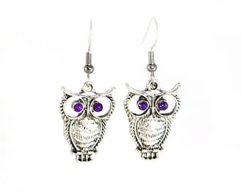 Purple Eyed Silver Owl Earrings on Surgical Steel Hooks or Clip Ons