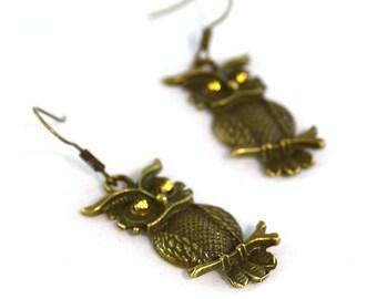 Golden Eyed Owl Earrings in Bronze