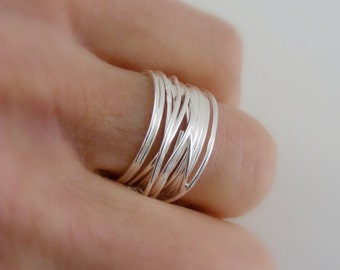 Silver Ring - Wide Band Ring - Wire ring - Stacking ring - Statement Jewelry- handmade jewelry