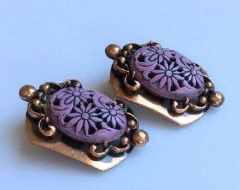 Selro Carved Lavender Lucite Copper Earrings