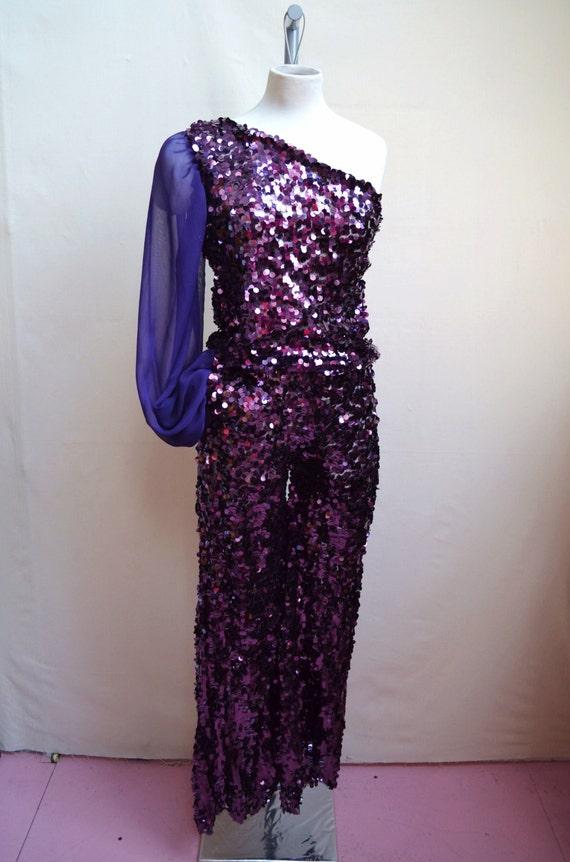 1970s metallic purple sequin one shoulder jumpsuit with sheer