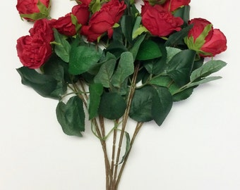 Silk Flowers - 16 Inch RED Cabbage Rose Bush with Rose Buds -  Artificial Roses