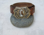 """Vintage 1970s Western Tooled """"R L E"""" Belt with Amazing Horse Photo Buckle"""