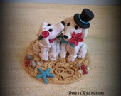 Wedding Cake Topper, Custom Cake Topper, Poodle, Puppy Cake Topper, Dog, Beach Theme, Polymer Clay, Keepsake