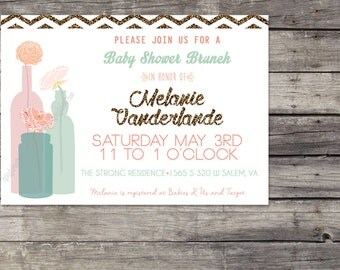 Glitter and Peonies Invitation Gold, Mint, Turquoise and Coral