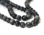 10mm black silk stone bead, round natural gemstone, black and white onyx marble, full & half strands available   (1013S)