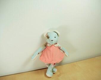Eco Friendly OOAK Blue Victorian Teddy Bear Fluffed Handmade with Love