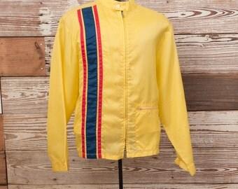 Vintage 1950s 1960s Yellow Nylon Stripe Crusier Coat Mod Racing Jacket Windbreaker // Medium Large