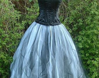 long white black tulle tutu skirt goth floor length full length weddings victorian prom  US size 6 8 10 12 14 16   S M L XL