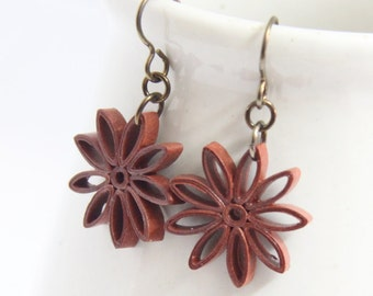 CIJ Rust Brown Star Earrings Nine Pointed Star Baha'i Jewelry Niobium Eco Friendly Earrings hypoallergenic