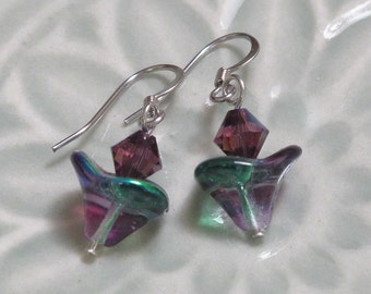UU Chalice Earrings - Purple Flame with green and purple