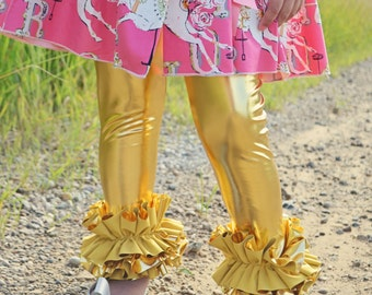 LIMITED EDITION Girls liquid gold  leggings ultimate ruffle