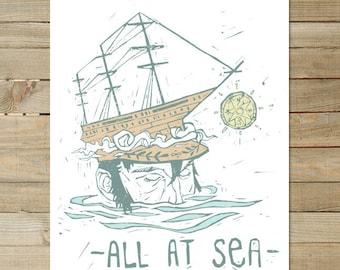 All at Sea / 11 x 17 in. Art Print | hipster nautical sailor beach pirate print