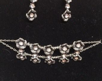 Flower Bracelet and Matching Earrings Set