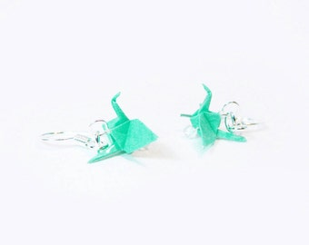"Origami Crane earrings 3/4""   - Sea Foam Paper Crane Earrings Solid Color"