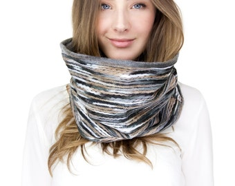 GRAY FELT SCARF, infinity scarf, tan and blue cowl, felted yarn cowl neck, reversible, infinity scarf