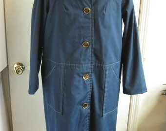 early 1970s mod navy blue trench coat raincoat made in usa poplin huge gold buttons uniform style