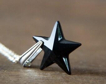 Black Star Silver Necklace - Sterling Silver Swarovski Crystal Black Star Necklace - Shimmer Glitter Jewelry - Goth Necklace