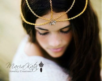 Newborn/Baby to Adult Head Chain- w/ crystal rondelles