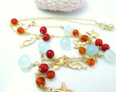 Coral and blue chalcedony gold starfish seahorse charm necklace, high quality beach coral wedding gold filled necklace