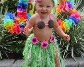 Baby Girl or Toddler Hawaiian HULA Dancer Island Photo Prop- Grass Skirt Coconut Bra and Flower Headband - Made to Order PLAN Ahead