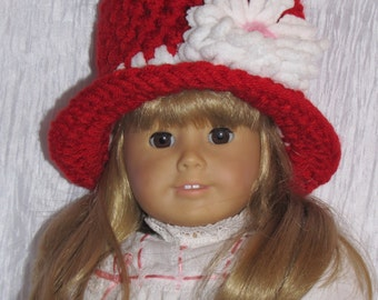 American GIRL Doll Top Hat with Flower - 18 inch Doll- Newborn Photo Prop - REBORN Doll - Christmas - Made to Order